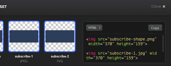 画像のHTML、背景画像にしたCSSのコードも取得